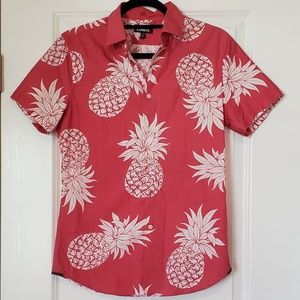 Express pink pineapple button up
